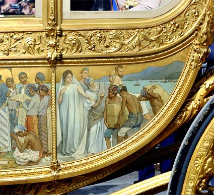 Feitelijk staat iedereen, behalve het staatshoofd, als slaven afgebeeld op de Gouden Koets, zoals dictator Willem I het bedoeld had...