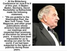 David Rockefeller over de geheime Bilderberg conferenties!