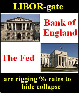 Libor Gate, waarbij ook de Rabobank betrokken was en volgens dit affiche zouden de Federal Reserve en Bank of England van de Rothschilds betrokken zijn!